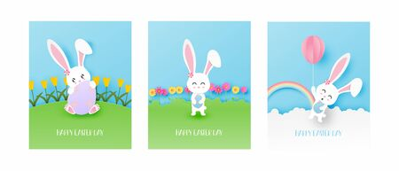 Set of Easter day greeting card with cute bunny in paper cut style. Vector illustration. Digital craft paper art. Easter day concept. Illusztráció