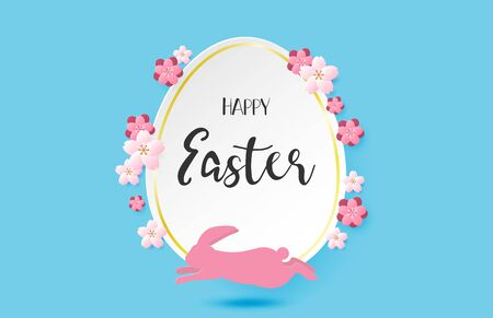 Happy Easter day background with flower and pink rabbit in paper cut style. Digital craft paper art.