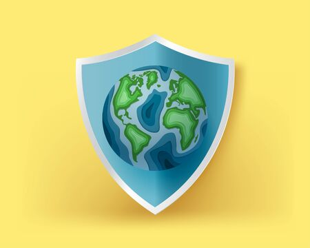 World earth day background concept. The globe on yellow background. Vector illustration. Digital craft paper art. wallpaper, backdrop, banner.
