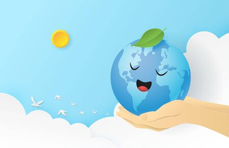 World earth day background concept. Happy globe on a hand in sky background in paper cut style. Vector illustration. Digital craft paper art. wallpaper, backdrop, banner.