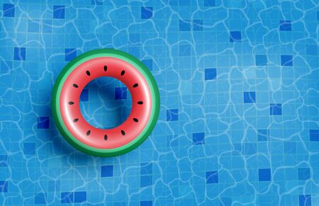 Summer banner or poster advertising . Swimming pool with inflatable rubber ring on water. Shopping promotion template for summer season.