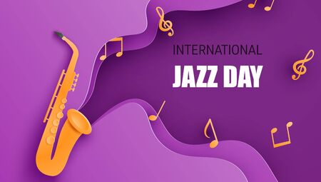 International jazz day poster or banner with saxophone in paper cut style. Digital craft paper art. Çizim