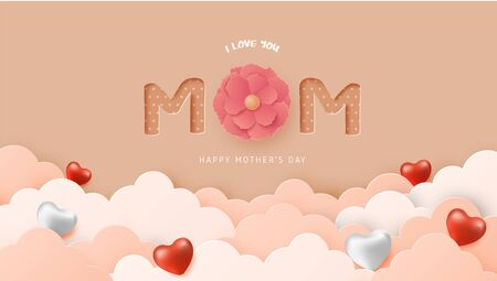 Happy mother's day poster or banner with clouds, heart shape and flower on in paper cut style. Digital craft paper art.