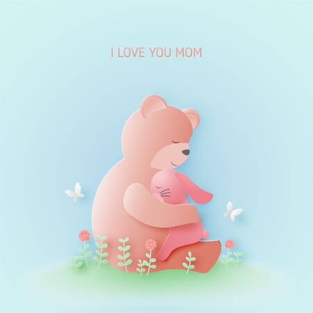 Happy mothers day greeting card with Bear hug baby rabbit on flower fields in paper cut style. Vector illustration Mothers day banner or poster.