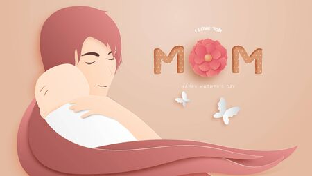 Happy mother's day poster or banner with woman hug her baby in paper cut style on background. Digital craft paper art.