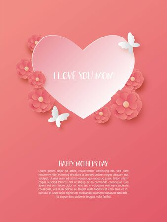 Happy mother's day poster with heart shape and flowers in paper cut style.