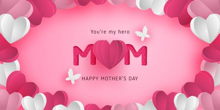 Happy mother's day poster or banner with heart shape in paper cut style. Digital craft paper art.
