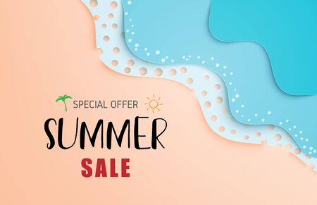 Summer sale banner or poster with sea wave and beach in paper cut style. Çizim
