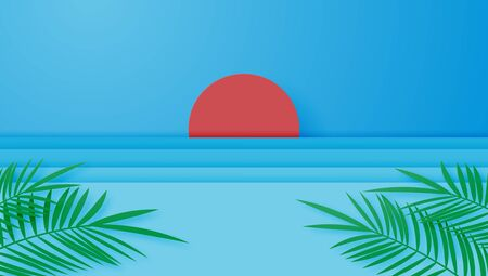 Summer vacation poster or banner with the sun, sea and palm leaves in paper cut style. Digital craft paper art and minimal.