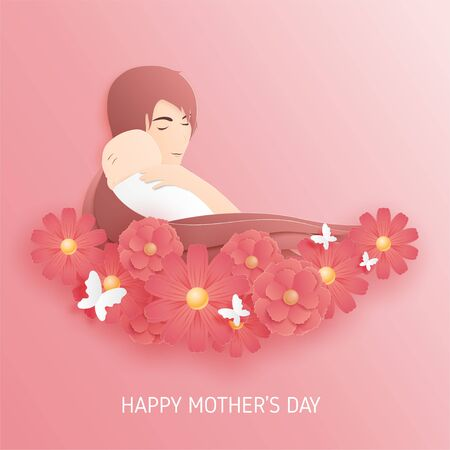 Happy mothers day poster or banner with woman hug her baby and flowers on background in paper cut style. Ilustração