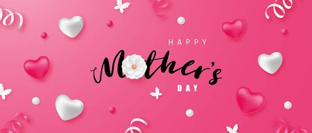 Happy mother's day banner or poster with heart shape and decoration. Shopping promotion background.