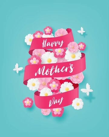 Happy mother's day greeting card or poster with flower and butterfly in paper cut style. Digital craft paper art.