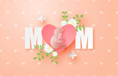 Happy mother's day poster or banner with the bear hugs the rabbit in paper cut style. Digital craft paper art.