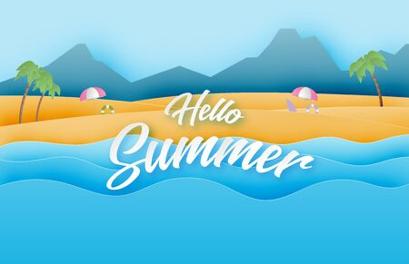 Summer holiday poster or banner with beach and sea wave in paper cut style.