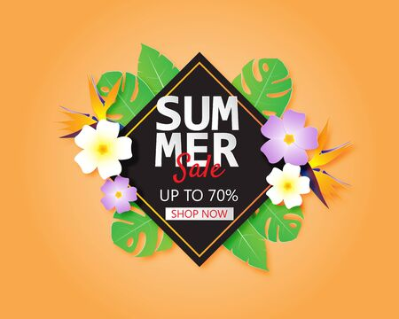Summer sale banner or poster with flowers and leaves in paper cut style. Shopping promotion advertising.
