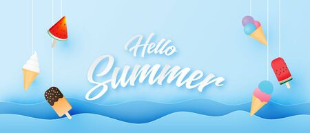 Summer banner or poster with ocean wave and hanging many ice cream in paper cut style. Digital craft paper art.