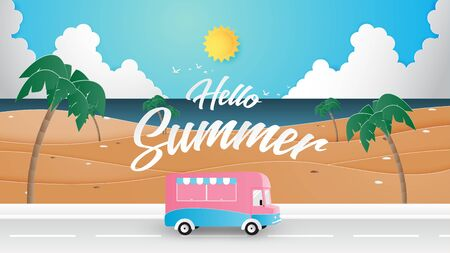 Summer travel poster or banner with van on the road beside the beach in paper cut style. Tourism promotion advertisement.