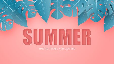 Summer banner or poster with tropical leaves on pink in paper cut style. Digital craft paper art. Çizim