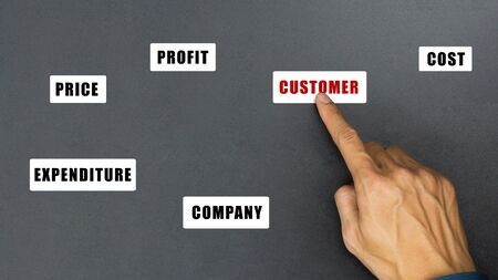 The customer first concept. A businessman hand choose customer on black background. Stok Fotoğraf