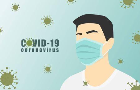 Novel coronavirus (2019-nCoV) with a man wearing medical face mask. Coronavirus quarantine concept.