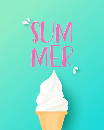 Paper art and craft made ice cream cone on background. Summer poster or banner for shopping promotion advertisement.