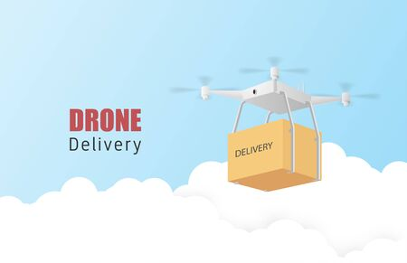 Drone delivery concept poster or banner with Drone transporting parcels in the air. Paper art and craft in 3d style. Çizim