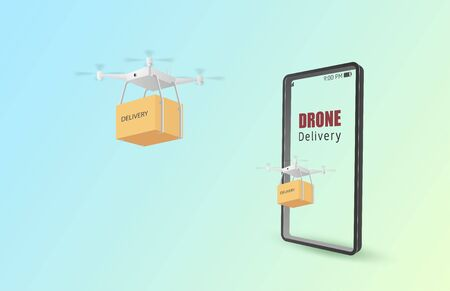 Drone delivery concept poster or banner with Drone transporting parcels in the air from online shopping with smartphone. Paper art and craft in 3d style.