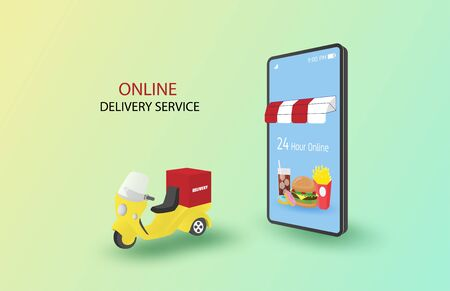 Online delivery service concept. Online order on mobile and delivery to home. Smart burger shop with delivery bike on background. Shopping promotion banner or poster.