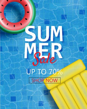 Summer sale poster with realistic swim ring and inflatable mattress. Shopping promotion for summer season.