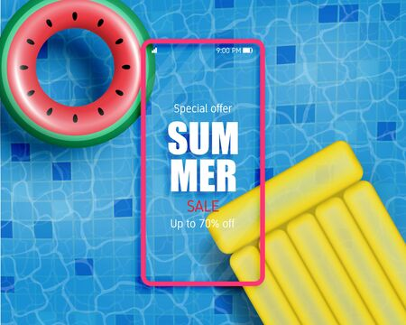 Summer poster or banner with realistic swim ring and inflatable mattress. Shopping promotion for summer season.