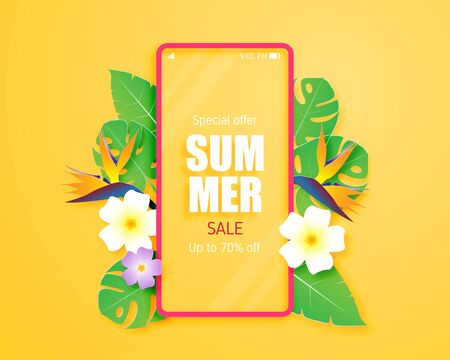 Summer sale banner or poster with tropical leaves, flower and mobile in paper cut style. Paper art and craft for shopping promotion in summer times.