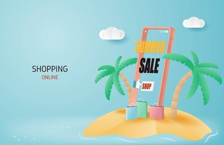 Summer sale online shopping banner concept. Paper art and craft made smartphone and shopping bag on island.