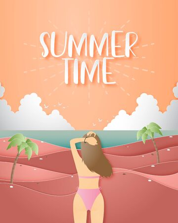 Summer time poster with bikini girl on the beach in paper cut style. Shopping promotion sale advertisement. Çizim
