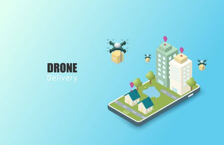 Online delivery service concept. isometric. Mobile order tracking. Delivery drones to destination. Online city logistics. Delivery on smartphone. Vector illustration