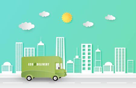 Online delivery service concept. Mobile order tracking. Delivery Eco van to destination. Online city logistics. Delivery on smartphone. Vector illustration