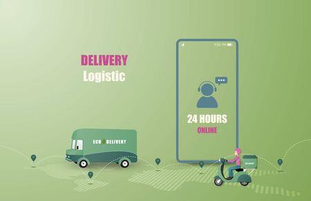 Online delivery service concept. Mobile order tracking. Delivery van and motorbike to destination. Online logistics. Delivery on smartphone. Vector illustration