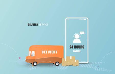 Online delivery service concept. Mobile order tracking. Delivery van to destination. Online logistics. Delivery on smartphone. Vector illustration Çizim