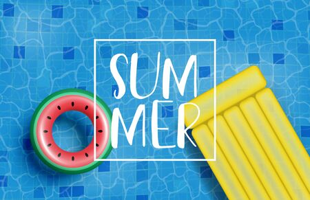 Summer poster or banner with realistic swim ring and inflatable mattress. Shopping promotion for summer season. Ilustración de vector
