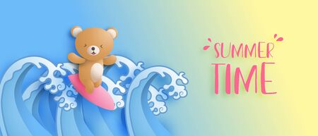 Summer time banner with the cute bear is surfing on ocean wave in paper cut style. Digital craft paper art. Promotion shopping advertisement poster. Summer holiday wallpaper. Çizim