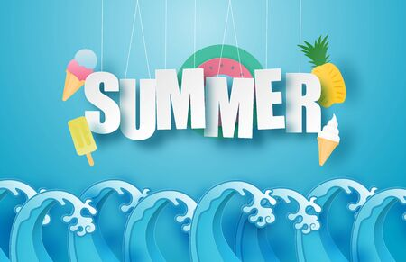 Hello summer poster or banner with hanging text, ice cream, swim ring, pineapple over sea wave in paper cut style. Vector illustration digital craft paper art. wallpaper, backdrop, summer season.