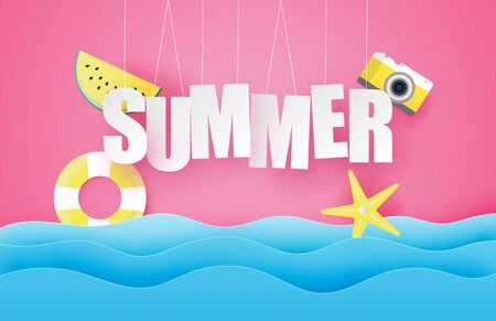 Hello summer poster or banner with hanging text, watermelon, swim ring, star over sea wave in paper cut style. Vector illustration digital craft paper art. wallpaper, backdrop, summer season. Illustration