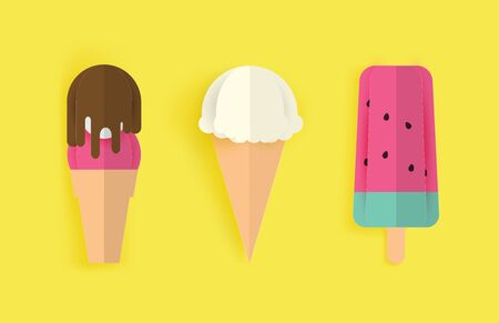 paper art and crafts colorful ice cream set on yellow background. Vector illustration. icecream paper.