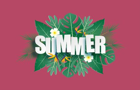 Hello summer banner with tropical leaves and text in paper cut style. Digital craft paper art summer background, wallpaper, backdrop.