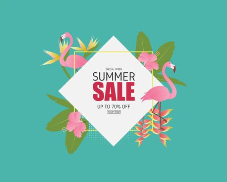 Summer sale banner with flamingo bird, tropical leaves and flower in paper cut style. Digital craft paper art. Summer season poster and background.