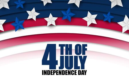 4th of July banner or poster in United States of America flag colors and decoration. Vector illustration. Happy independence day. Çizim
