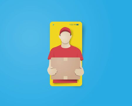 Online delivery concept with smartphone and delivery man carried the package in paper cut style. Digital craft paper art. Çizim