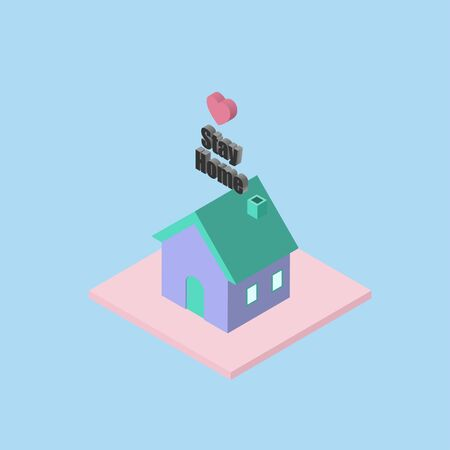 Isometric home for stay at home or work from home concept.