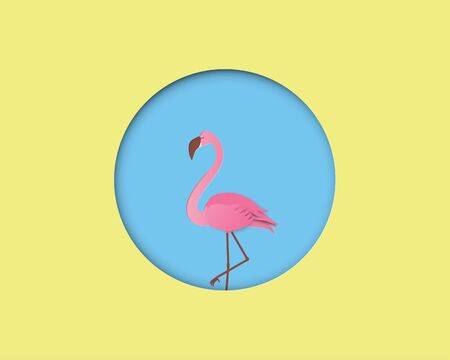Flamingo bird on blue background with yellow circle frame in paper cut style. Digital craft paper art.