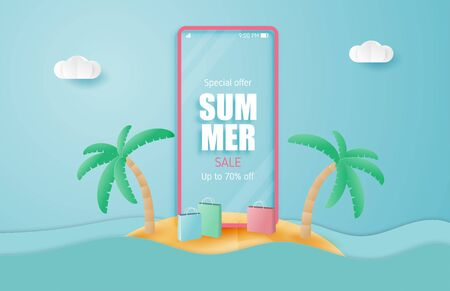 Summer sale banner with smartphone on island in paper cut style. Vector illustration holiday sale.