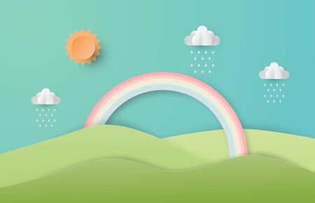 Green nature landscape scenery with mountain, rainbow, sun and clouds in paper cut style. Digital craft paper art. Çizim